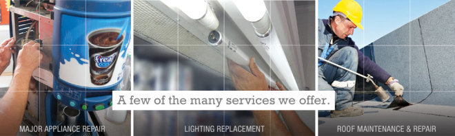 MPS offers major appliance repair, lighting replacement and roof repair and replacement.