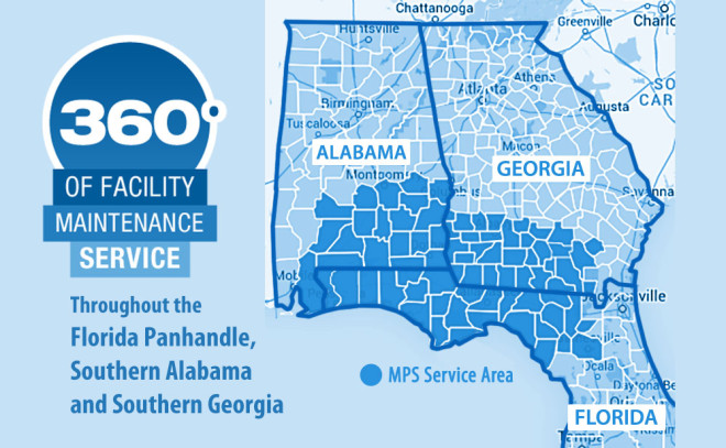 MPS offers 360 degrees of facility maintenance service and repair to many areas in Florida, Alabama and Georgia.