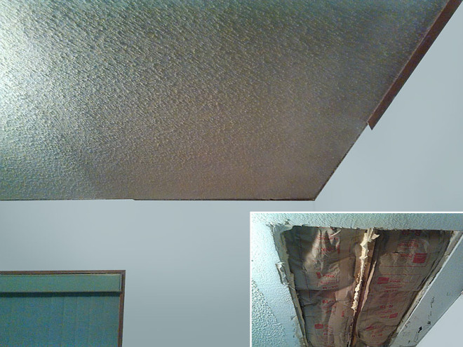 Before and after ceiling repair by Mainstreet Property Services.