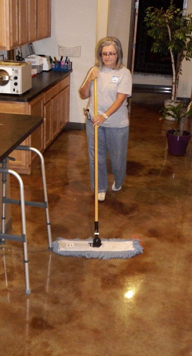 MPS tech Floor Sweeping with Microfiber Dustmop.