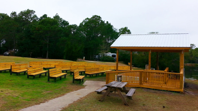 State Park Amphitheater and benches constructed by Mainstreet Property Services.
