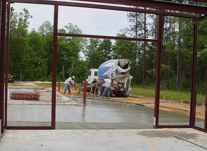 Pouring concrete for the Youth Center - MPS.