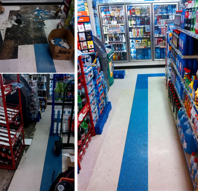 Before and after MPS flooring techs high quality repair work
