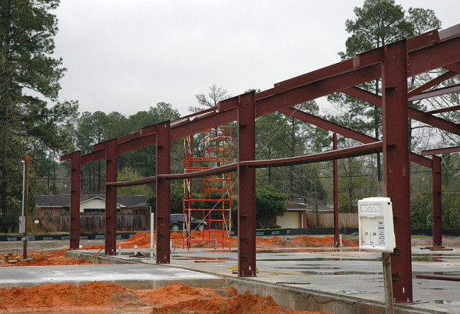 Steel girders in place on MPS construction project.
